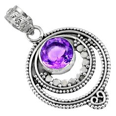 3.11cts natural purple amethyst 925 sterling silver pendant jewelry r57722