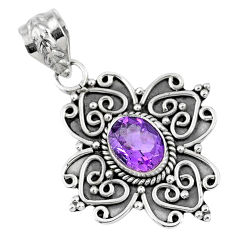 3.19cts natural purple amethyst 925 sterling silver pendant jewelry r57762