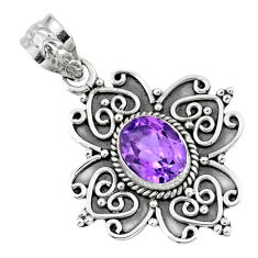 3.40cts natural purple amethyst 925 sterling silver pendant jewelry r57789