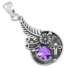 2.02cts natural purple amethyst 925 sterling silver pendant jewelry r67606