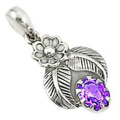 1.95cts natural purple amethyst 925 sterling silver pendant jewelry r77803