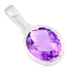 4.16cts natural purple amethyst 925 sterling silver handmade pendant r82641