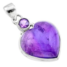 15.55cts natural purple amethyst 925 sterling silver pendant jewelry t19343