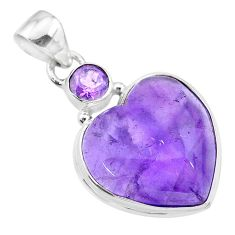 15.18cts natural purple amethyst 925 sterling silver pendant jewelry t19353