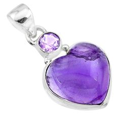 13.73cts natural purple amethyst 925 sterling silver pendant jewelry t19355