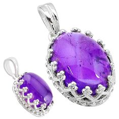 6.28cts natural purple amethyst 925 sterling silver pendant jewelry t20442