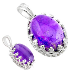 6.64cts natural purple amethyst 925 sterling silver pendant jewelry t20445