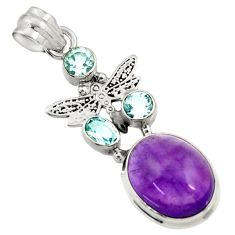 11.02cts natural purple amethyst blue topaz 925 silver dragonfly pendant d43627
