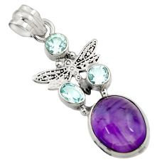 11.02cts natural purple amethyst blue topaz 925 silver dragonfly pendant d43634