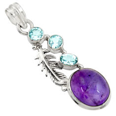 10.69cts natural purple amethyst blue topaz 925 silver father pendant d43636