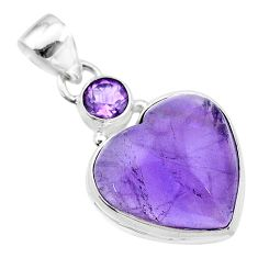 13.57cts natural purple amethyst heart 925 sterling silver pendant t19347