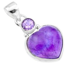11.92cts natural purple amethyst heart 925 sterling silver pendant t19354