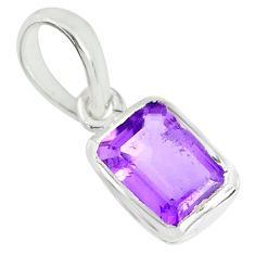 1.84cts natural purple amethyst octagan 925 sterling silver pendant r70567