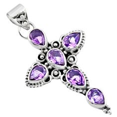 6.31cts natural purple amethyst pear 925 sterling silver cross pendant r55966