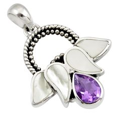 2.17cts natural purple amethyst pearl 925 sterling silver pendant jewelry c26342