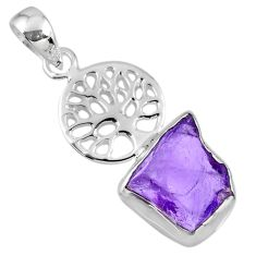 6.03cts natural purple amethyst rough 925 silver tree of life pendant r56861