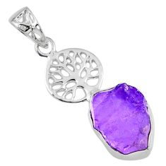 8.92cts natural purple amethyst rough 925 silver tree of life pendant r56866