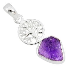 6.39cts natural purple amethyst rough 925 silver tree of life pendant r81047