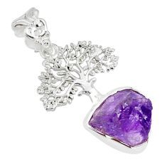 6.92cts natural purple amethyst rough 925 silver tree of life pendant r81050