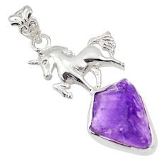 12.71cts natural purple amethyst rough 925 sterling silver horse pendant r31324