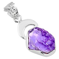 8.53cts natural purple amethyst rough 925 sterling silver pendant jewelry r56852