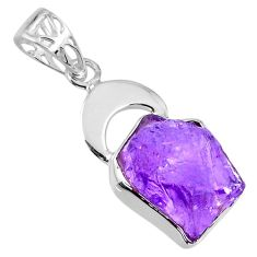 8.52cts natural purple amethyst rough 925 sterling silver pendant jewelry r56854