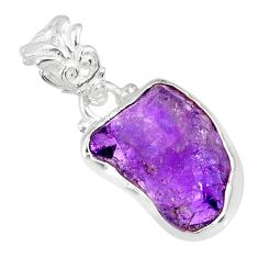 9.34cts natural purple amethyst raw 925 silver handmade pendant r80731