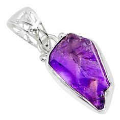 7.82cts natural purple amethyst raw 925 silver handmade pendant r80734