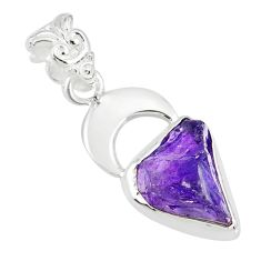 7.04cts natural purple amethyst rough 925 silver handmade pendant r81041