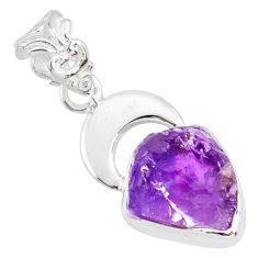 6.57cts natural purple amethyst rough 925 silver handmade pendant r81057