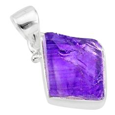 7.44cts natural raw purple amethyst rough 925 silver pendant jewelry r88589