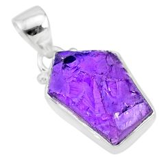 7.90cts natural raw purple amethyst rough 925 silver pendant jewelry r88593