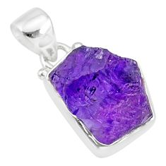 8.32cts natural raw purple amethyst rough 925 silver pendant jewelry r88595