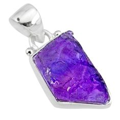 7.11cts natural raw purple amethyst rough 925 silver pendant jewelry r88597