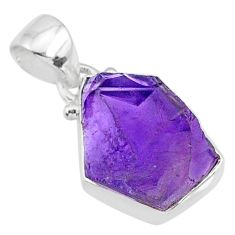 7.99cts natural raw purple amethyst rough 925 silver pendant jewelry r88598