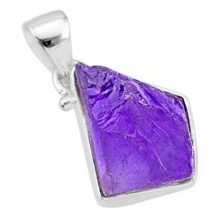 7.85cts natural raw purple amethyst rough 925 silver pendant jewelry r88599