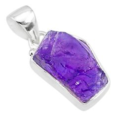 9.26cts natural raw purple amethyst rough 925 silver pendant jewelry r88600