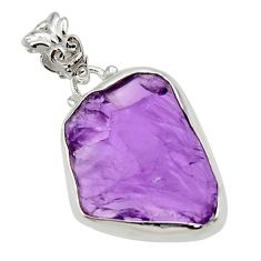 15.65cts natural purple amethyst rough 925 sterling silver pendant r29887