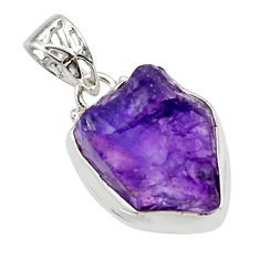 14.23cts natural purple amethyst rough 925 sterling silver pendant r29890