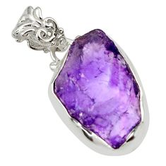 12.15cts natural purple amethyst rough 925 sterling silver pendant r29892