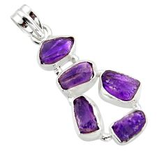 16.54cts natural purple amethyst rough 925 sterling silver pendant r41001