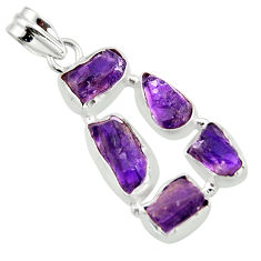 16.06cts natural purple amethyst rough 925 sterling silver pendant r41003