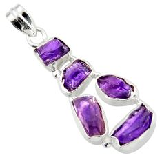 17.95cts natural purple amethyst rough 925 sterling silver pendant r41004