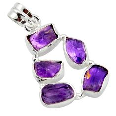 16.49cts natural purple amethyst rough 925 sterling silver pendant r41011