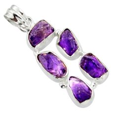 16.54cts natural purple amethyst rough 925 sterling silver pendant r41012