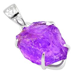 18.28cts natural purple amethyst raw 925 sterling silver pendant r82993