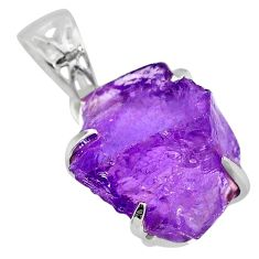 14.79cts natural purple amethyst raw 925 sterling silver pendant r82995