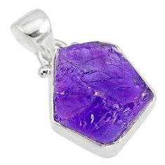 11.09cts natural raw purple amethyst rough 925 silver pendant r88581