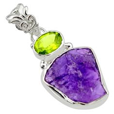 13.15cts natural purple amethyst rough green peridot 925 silver pendant r29792