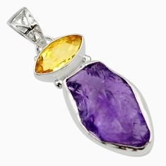 15.08cts natural purple amethyst rough yellow citrine 925 silver pendant r29791